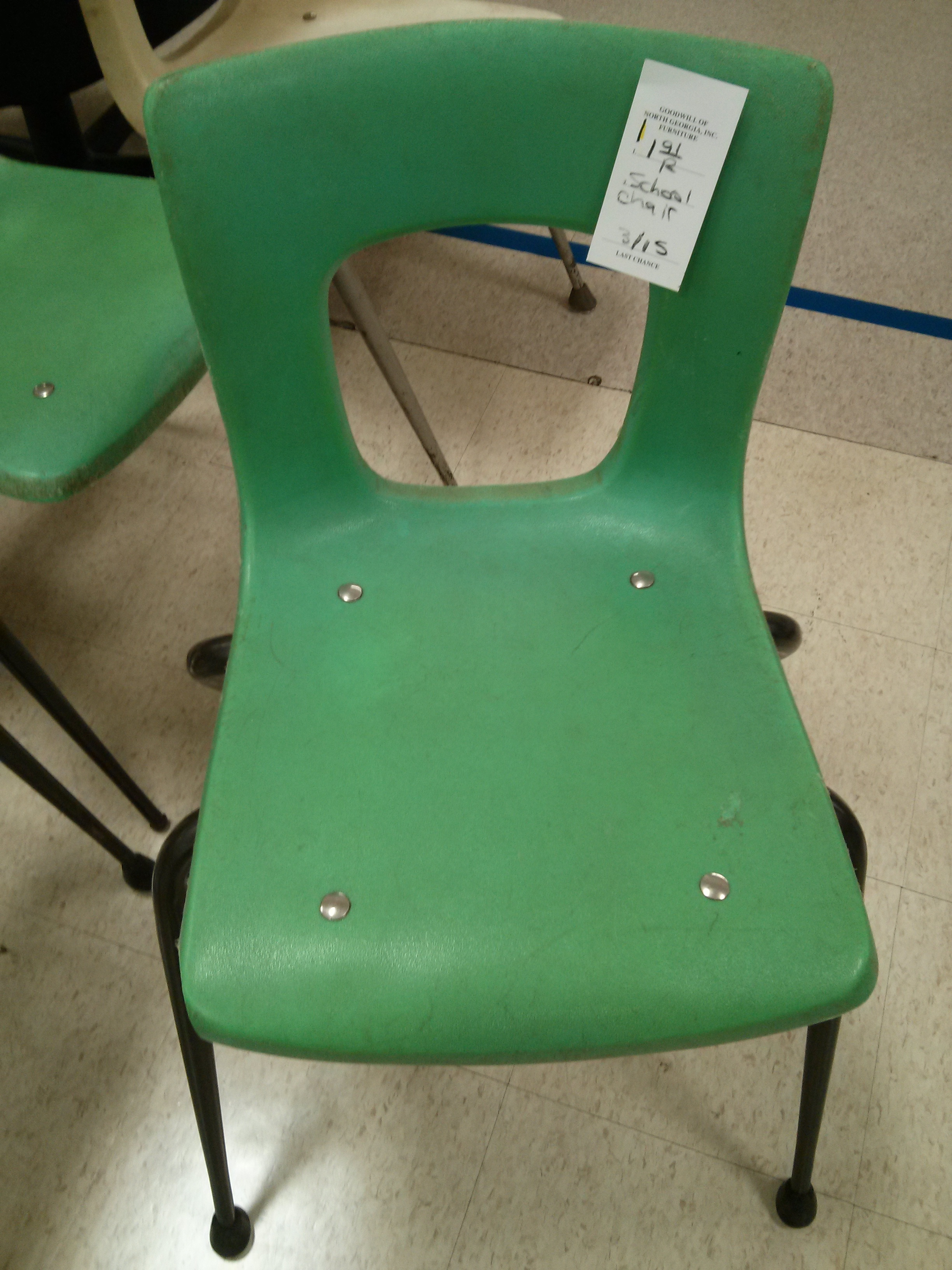 uncomfortable green school chairs